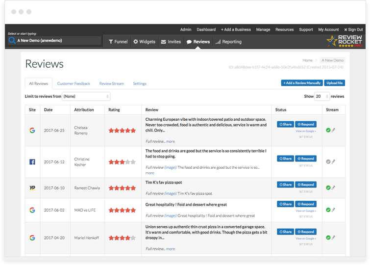 Customer Review Dashboard